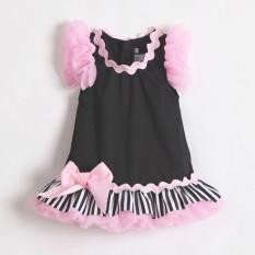H40 Jual Hot Fashion Baru Baju Bayi Perempuan Express Lace Pink Gaun Tanpa Lengan Bayi