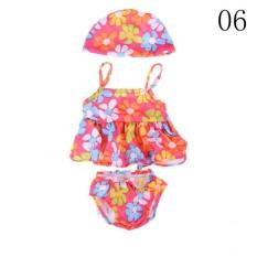 Buatan Tangan Pakaian Baju Renang Baju Renang dengan Topi untuk Semua 18 Inch Perempuan Doll Mainan 06-Internasional