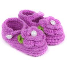 Handmade Bayi Bayi Anak-anak Gadis Crochet Merajut Sepatu (Ungu)-Intl
