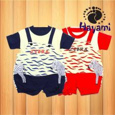 Spesifikasi Hayami Baju Kodok Bayi Zebra Krem Navy Murah