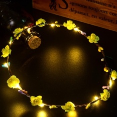 Headwear LED Tali Ringan Garland Natal Wreath Rotan Gaya: Kuning-Internasional