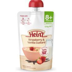 Heinz Baby Pureed Food for 8+ Months 120g Australia. Flavor: Strawberry and Vanilla Custard.