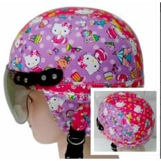 Helm Anak Broco Chip Retro Raca Riben Lucu Usia 1 sampai 5 tahun Motif Hello Kitty Batik - Pink Ungu