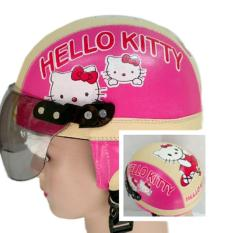 Helm Anak Broco Chip Retro Raca Riben Lucu Usia 1 sampai 5 tahun Motif Hello Kitty - Pink/Cream