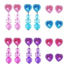 Hicarer 8 Pasang Klip-On Anting-Anting Berbentuk Hati Perempuan Mainkan Anting atau 8 Pasang Earring Alas Anda permainan Putri-Internasional