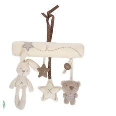 High Quality Musical Soft Plush Rabbit And Bear Baby Rattle HangingToy Stroller Star Hanging Rattle Mobile Products Cute Baby Toys - intl