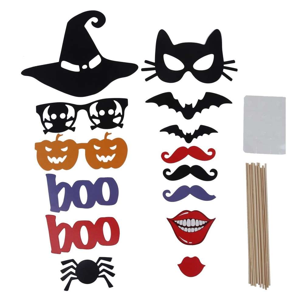 Hogakeji Photo Booth Props DIY Kit untuk Halloween Natal Pernikahan Pesta Ulang Tahun Kelulusan, Photobooth Gaun-up Aksesoris Pestanya, 14 Set-Intl