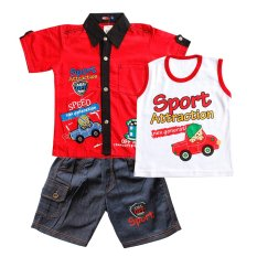 Horton Baju Anak Bayi Kemeja Stelan Jeans 3 In 1 1336 - Merah Ukuran 3