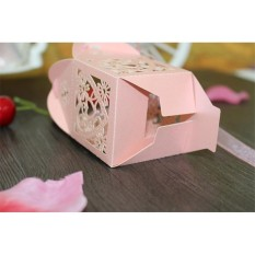 Hossen 10 Pcs Pernikahan Pengantin Mandi Kebaikan Kotak Pesta Sweet-jantung Berongga Permen Gula Hadiah Kotak dengan Pita