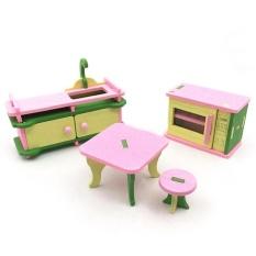 Hossen Kreatif Simulasi Kayu Furniture 3D Assembly Puzzle Set Bahan Kayu: Dapur