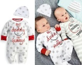 Miliki Segera Hot Baby Boy G*rl Mum Dad Lucu Bayi Baru Lahir Romper Hat Baju Tidur Pakaian Set Intl