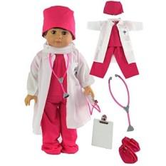 Seksi Merah Muda Dokter atau Perawat 7 PC Set 18 Inch Doll Pakaian Lengkap dengan Pelapis Laboratorium Putih DOLL, topeng Wajah, Medical Shoe Sarung, Tutup, Stetoskop, dan Scrubs-Internasional