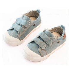 I03 Lampu Biru Baru Fashion Panas Anak Laki-laki Sepatu Anak Lucu Keling Kulit Flat Sepatu Karet Sole Ukuran: 21-25