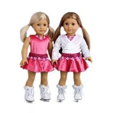 Es Skating Perempuan-4 Piece Outfit-Merah Muda Leotard dengan Rok, putih Hangatkan Sweater dan Sepatu Seluncur Putih-18 Inch Pakaian Boneka (Boneka Tidak Termasuk)-Internasional