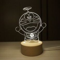 IKEA 3D Nordic wood creative Doraemon duo A dream night light fawnlamp birthday gift for Valentines Day gift - intl