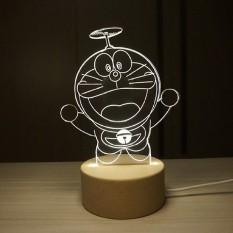 IKEA 3D Nordic wood creative Doraemon duo A dream night lightfawnlamp birthday gift for Valentines Day gift - intl