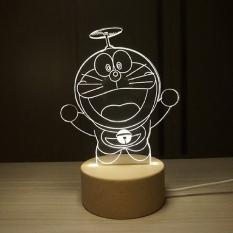 IKEA 3D Nordic Kayu Kreatif Doraemon Duo Mimpi Night Light Fawnlamp Hadiah Ulang Tahun untuk Valentines Day Gift-Intl