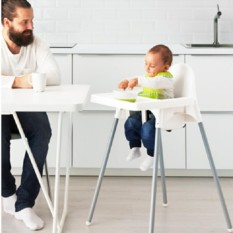 IKEA ANTILOP Baby Chair - High Chair with Blue Tray - Kursi Makan Anak dengan Meja - Baby Blue - 1 Pcs