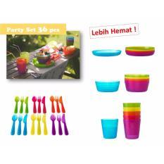Jual Cepat Ikea Kalas Party Set Peralatan Makan Aneka Warna 36 Pcs Sendok Mangkok Piring Gelas