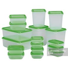 Ikea Pruta Food Container Set Of 17 Pcs - Green