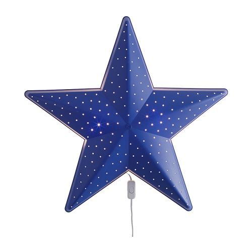 IKEA Smila Stjarna - Lampu Dinding, Lampu Tidur Kamar Anak Motif Bintang - Biru