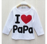 Toko Ilovebaby Aku Cinta Papa Mama Baru Yg Lahir Bayi Laki Laki Anak Perempuan Lengan Panjang T Shirt Baju Atasan Putih Tiongkok