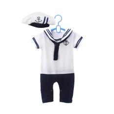 Ilovebaby Lucu Angkatan Laut Yang Berlengan Pendek Dengan Topi Bayi Cloth 6 24 Bulan Putih Asli