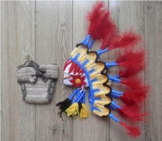 Imixcity 1 Bulan Bayi India ¡ äs Bulu Kostum Set Rajutan Crochet Foto Fotografi Prop Hat Diaper Set-Intl