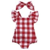 Promo Bayi Baby G*rl Plaid Romper Jumpsuit Dengan Headband Pakaian Newborn Pakaian Merah Di Tiongkok