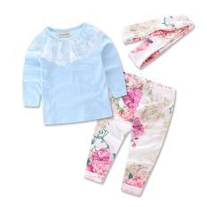 Harga Pada Tahun 2016 Froral Pakaian Gadis Musim Semi Kaos Pants Hiasan Kepala 3 Buah Pola Seperangkat Pakaian Bayi Baru Lahir Baju Anak Set Pakaian Internasional Asli Samgami