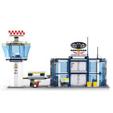 Bandara Internasional Children Puzzle Merakit Bangunan Plastik Blok Biru-Intl