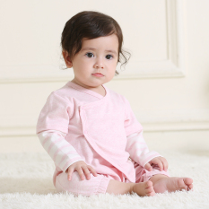 Jahitan Katun Lengan Panjang Palsu Dua Celana Ketat Baju Monyet Bayi