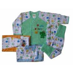 Jelova Angela 3Pcs Setelan Baju Tidur Piyama Baby Bayi Kimono Canoly Little Friend Elephant SNI Standart 0-6 Months-MIX Colour