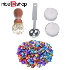 Jiaukon 100 Ps Eropa Retro Bentuk Bintang Sealing Wax dengan 1 Piece Lilin Mencair Sendok, 1 Piece Sealing Lilin Stamp dan 2 Pieces Wax-Intl