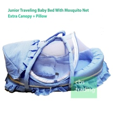 Junior Baby Mattress With Mosquito Net And Carrier Kasur Keranjang Bayi Biru Asli