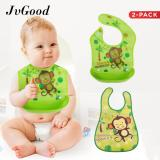 Harga Jvgood 2 Pack Waterproof Baby Food Bib With Food Catcher Adjustable Fabric Neck Detachable Tray Easily Wipe Clean Yang Bagus