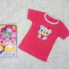 Kaos Lengan Pendek / Tee 5 in 1 Kancing Pundak / Baju Baby Cewek - Umur