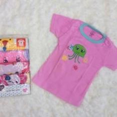 Kaos Lengan Pendek / Tee 5 in 1 Kancing Pundak / Baju Baby Cewek - Umur 9 Bulan