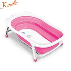 Harga Karibu Folding Baby Bath Bak Mandi Lipat Bayi White Hot Pink Original