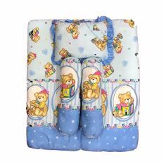 BAYIE - Kasur Bayi Lipat 4 in 1 (1 kasur, 1 bantal, 2 guling) warna BIRU /Tempat tidur bayi/matras bayi