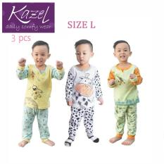 Kazel Piyama Boy Set - Baju Tidur Anak Setelan Isi 3 pcs ( L )