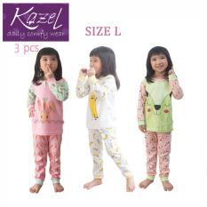 Kazel Piyama Girl Set - Baju Tidur Anak Setelan Isi 3 pcs ( L )
