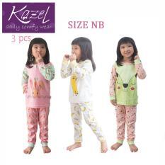 Kazel Piyama Girl Set - Baju Tidur Anak Setelan Isi 3 pcs ( NB )