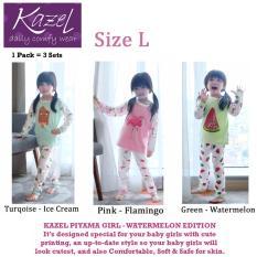 Kazel Piyama Girl Watermelon Edition - Baju Tidur Setelan Anak Isi 3 Pcs (L)