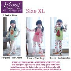 Kazel Piyama Girl Watermelon Edition - Baju Tidur Setelan Anak Isi 3 Pcs (XL)