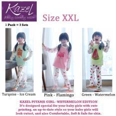 Kazel Piyama Girl Watermelon Edition - Baju Tidur Setelan Anak Isi 3 Pcs (XXL)