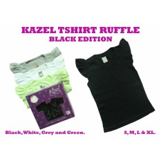 Kazel Ruffle Tee isi 4 pcs - black edition - shirt - kaos atasan anak - baju bayi lucu murah