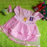 Promo Kembarshop Dress Baju Pesta Anak Bayi Perempuan Susun Tile Soft Pink Cantik