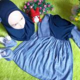 Toko Kembarshop Eksklusif Paket Gamis Bayi Plus Jilbab Dan Sepatu Boots Denim 12 Bulan Lengkap