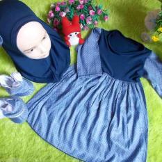 kembarshop - EKSKLUSIF paket gamis bayi plus jilbab dan sepatu boots denim 0-12 bulan